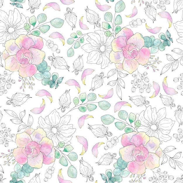 Watercolor seamless pattern of summer leaves on a light Premium Photo