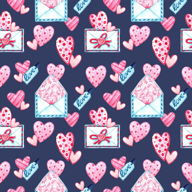 Watercolor seamless pattern texture for valentine's day. hand painted background. romantic illustration Premium Photo