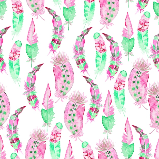 Watercolor seamless pattern with feathers Premium Photo