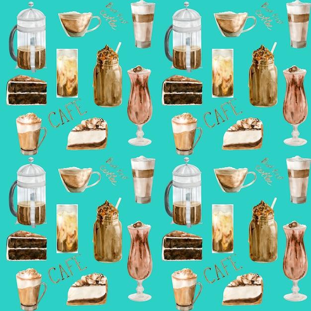 コーヒーカップのイラストを水彩のシームレスパターン Premium写真