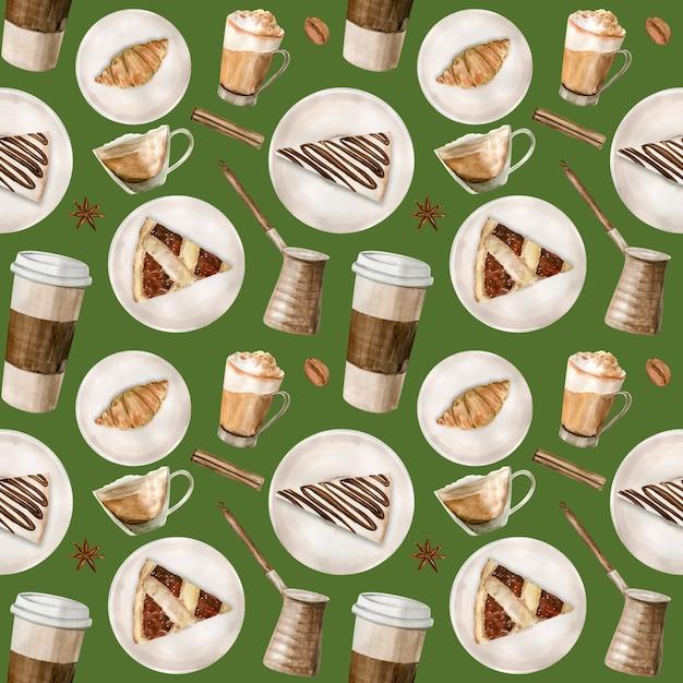 コーヒーのイラストと水彩のシームレスパターン Premium写真