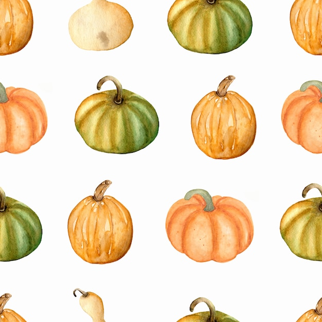 Watercolor seamless pattern with  pumpkins in green, yellow and orange colors.thanksgiving day. autumn . Premium Photo