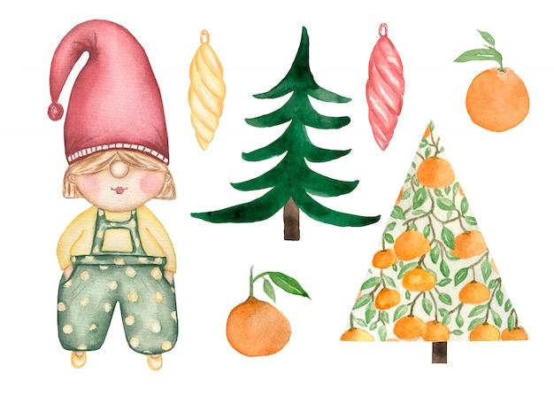 Акварельный набор рождества и нового года милый гномик Premium Фотографии