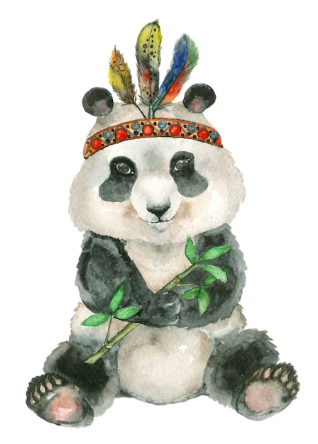 Watercolor sitting panda Premium Photo