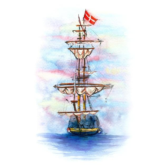 Акварельный эскиз датского парусного корабля в копенгагене, дания. Premium Фотографии