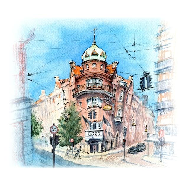 Акварельный эскиз старого города копенгагена, дания Premium Фотографии