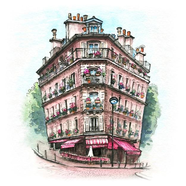 典型的なパリの家、フランスの水彩スケッチ Premium写真