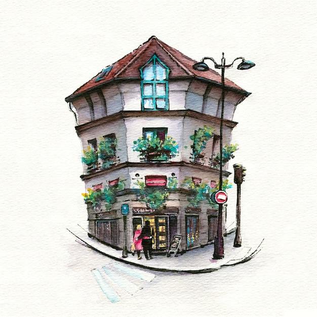 典型的なパリの通り、パリ、フランスの水彩スケッチ。 Premium写真