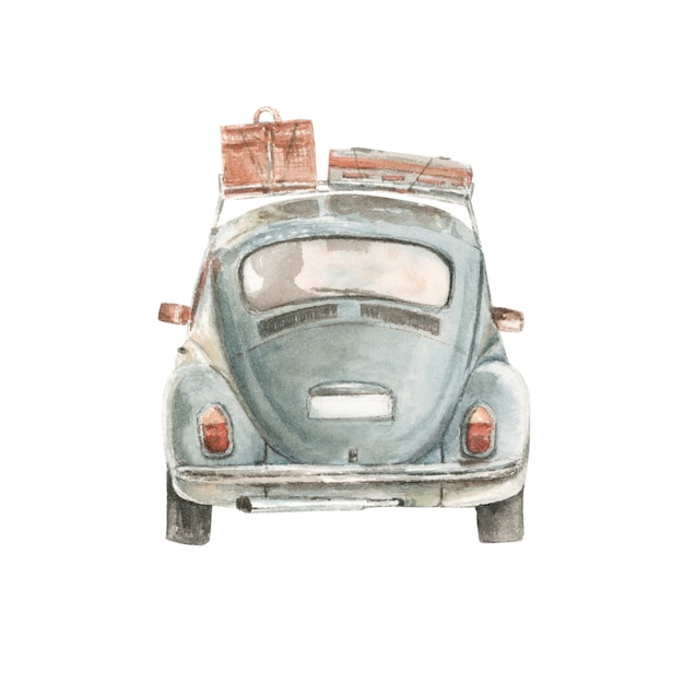 Watercolor small car with suitcases Premium Photo
