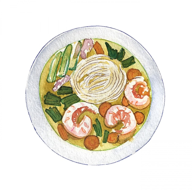 Watercolor vietnamese shrimp soup pho isolated on white background, top view. Premium Photo