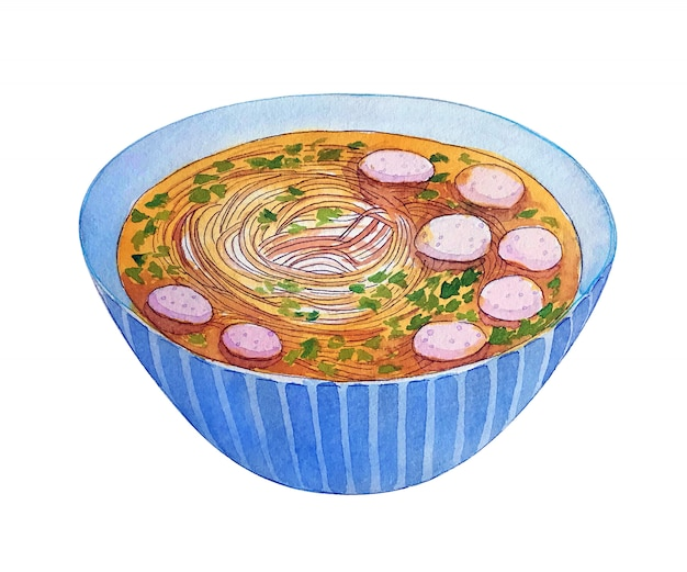Watercolor vietnamese soup pho isolated on white background. Premium Photo
