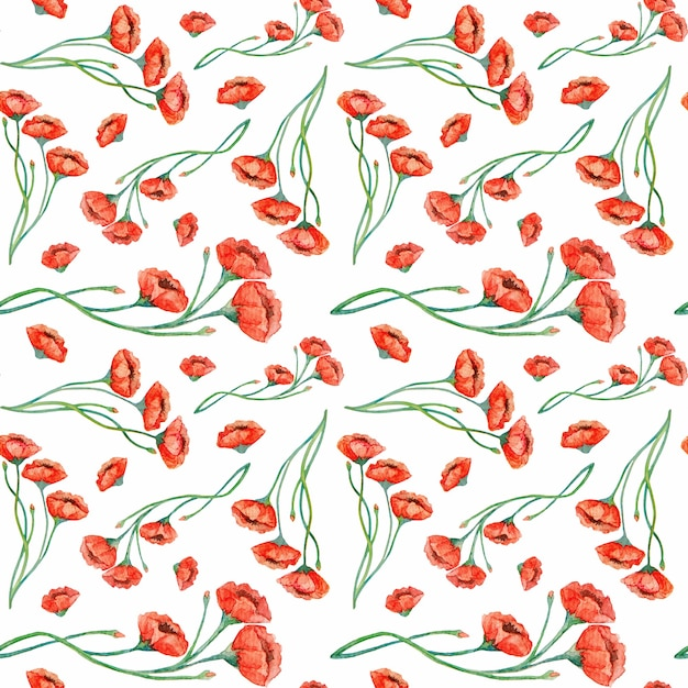 Watercolor vintage red poppies seamless pattern Premium Photo