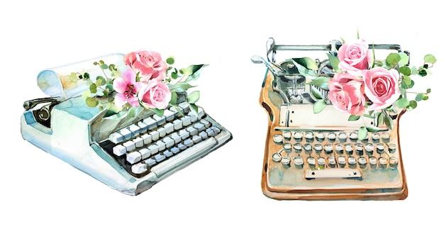 Акварель старинная пишущая машинка с цветами. иллюстрация машины ретро типа. писательские принадлежности. Premium Фотографии