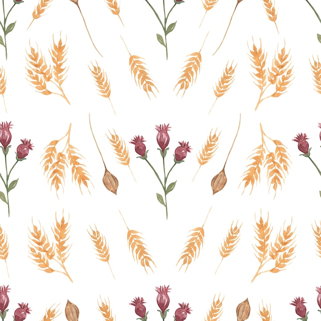 Watercolor Wildflower Seamless Floral Pattern Delicate