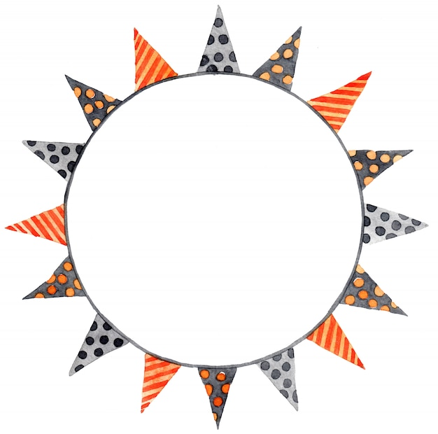 ハロウィーンの水彩画の花輪。色の花輪、フラグ Premium写真