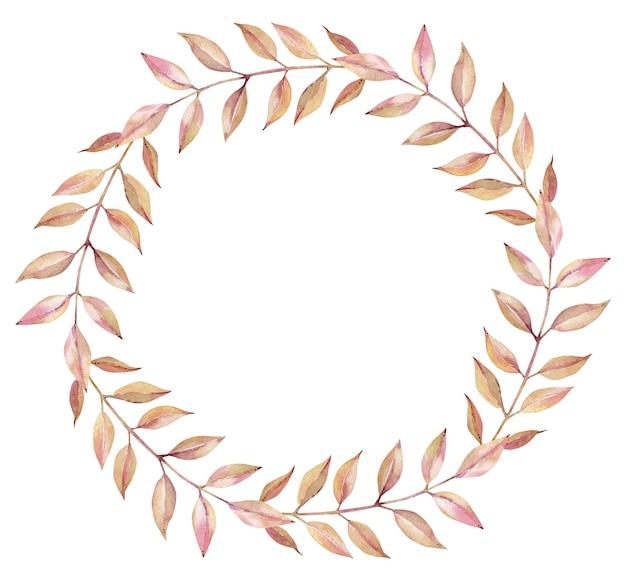 白い背景に分離された長い葉を持つ秋の明るいオレンジとピンクの枝の水彩花輪。シンプルなラウンドフレームに落ちる。 Premium写真