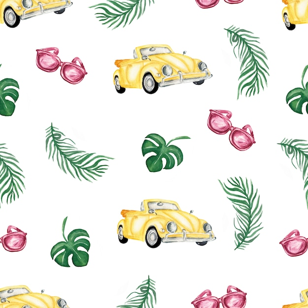 Watercolor yellow car ,sunglasses and tropical leaves summer seamless pattern. Premium Photo