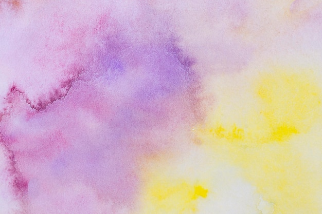 수채화 아트 핸드 페인트 노란색과 보라색 배경 무료 사진