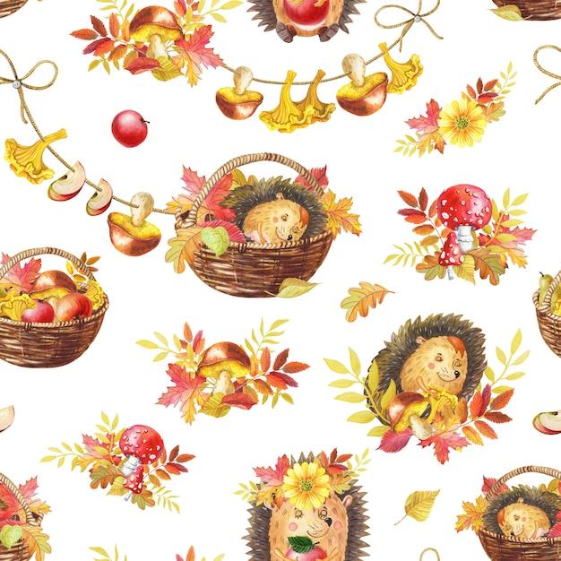 水彩のシームレスパターン。かわいい水彩漫画ハリネズミが眠っています。秋のイラスト Premium写真