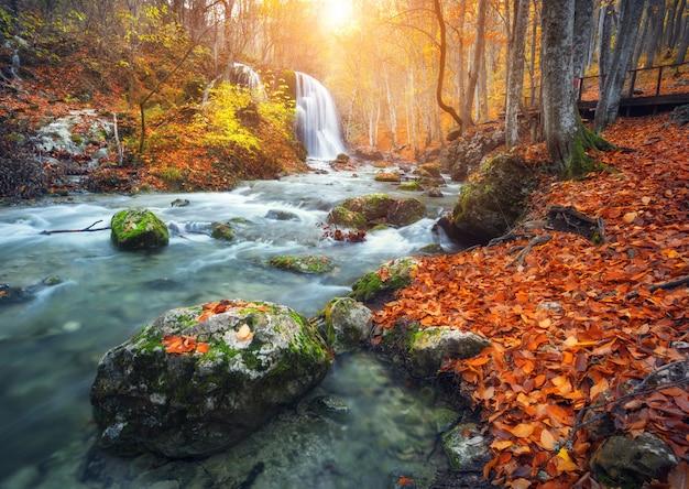 Водопад на горной реке в осеннем лесу на закате. Premium Фотографии
