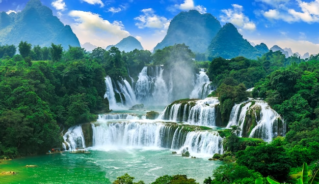 Waterfall clean tourist blue flow asian Photo | Free Download
