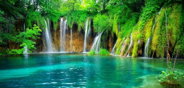 Waterfall landscape of plitvice lakes croatia. Premium Photo