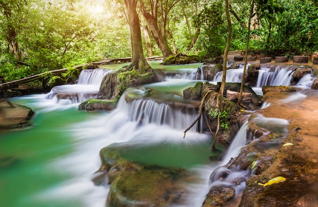 Waterfall in the national park of thailand name thanbokkoranee. Premium Photo