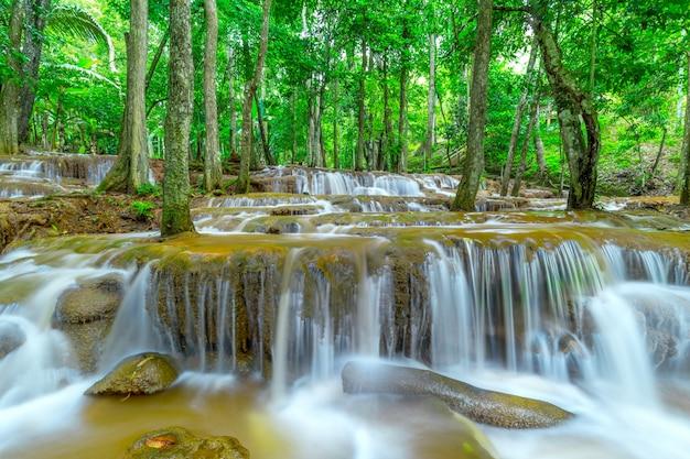 Waterfall in rain forest ,pa wai waterfall,tak province, thailand Premium Photo