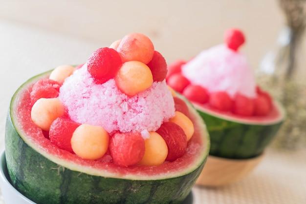 Watermelon bingsu dessert Free Photo