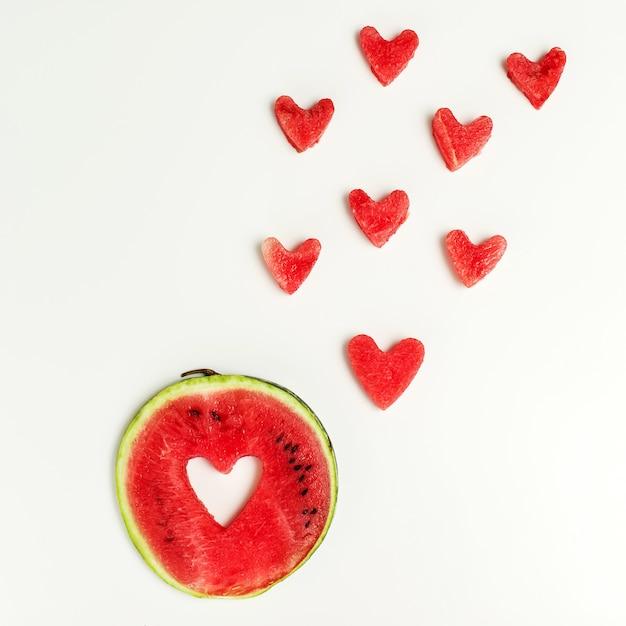 Watermelon heart isolated Premium Photo