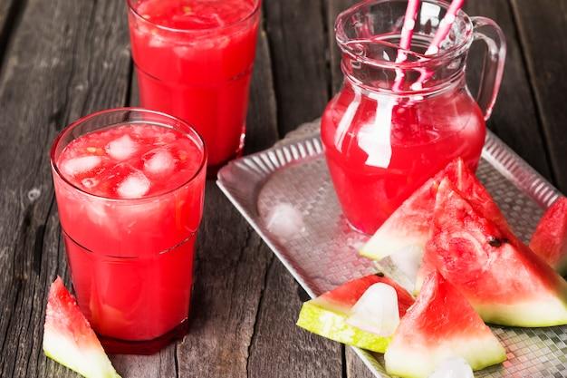 Watermelon juice in glasses Premium Photo