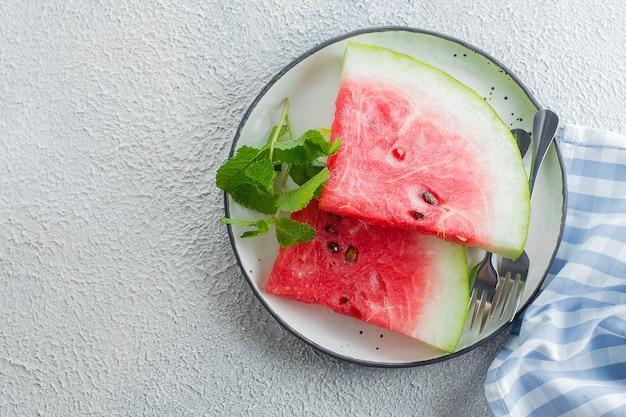 Watermelon slices on a plate Premium Photo