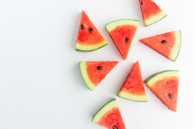 Watermelon slices in top view Premium Photo