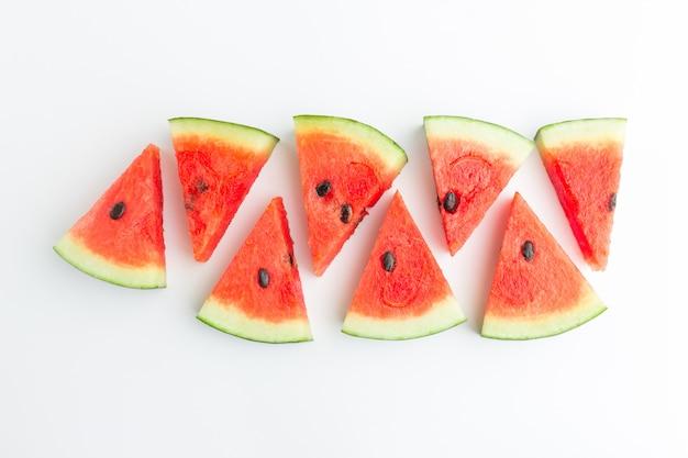 Watermelon slices in top view Premium Photo