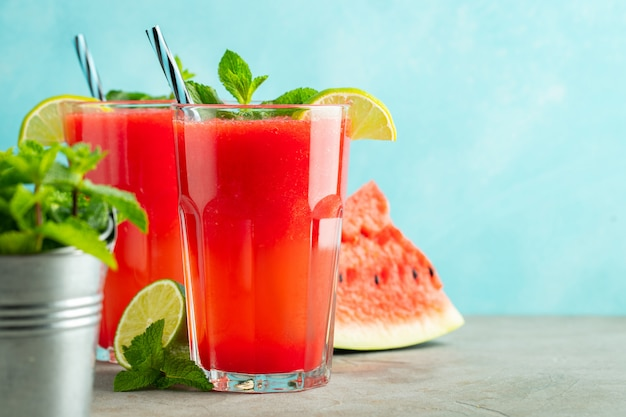 Watermelon slushie with lime and mint. Premium Photo