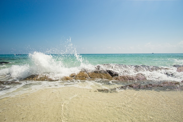 Waves breaking on the rock on the caribbean beach Premium Photo