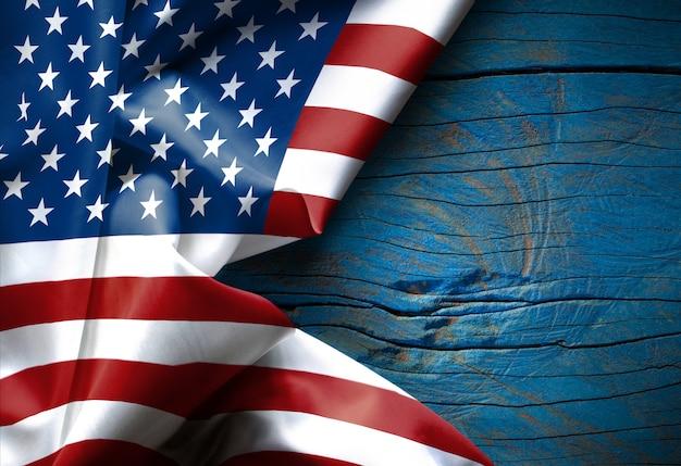 Waving american flag united states of america on wood texture Premium Photo
