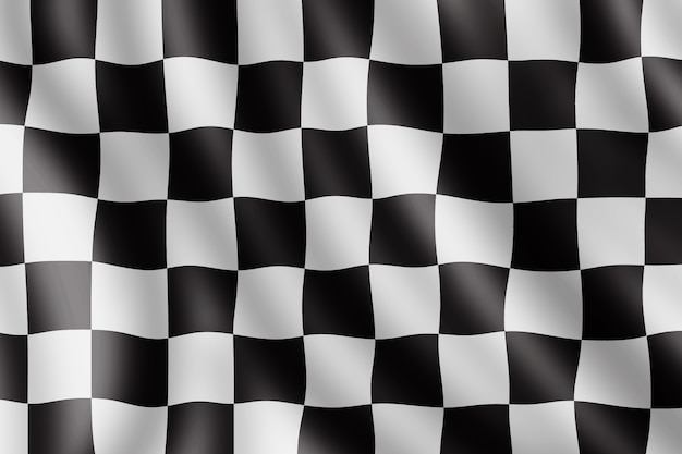 Waving checkered flag, realistic illustration Premium Photo