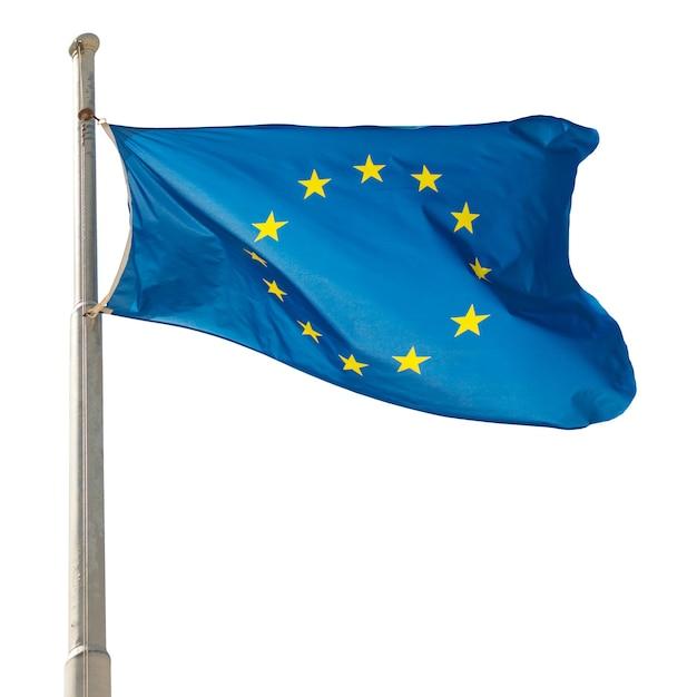 白い背景で隔離の欧州連合eu旗を振る Premium写真