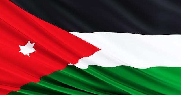 Развевающийся тканевый флаг иордании, шелковый флаг иордании, день независимости, Premium Фотографии