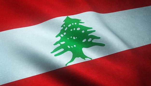 레바논의 깃발을 흔들며 무료 사진