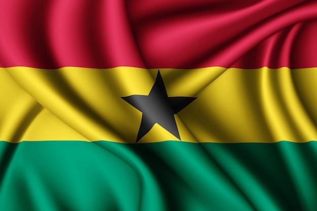 Waving silk flag of ghana Premium Photo