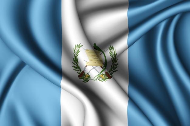 Waving silk flag of guatemala Premium Photo