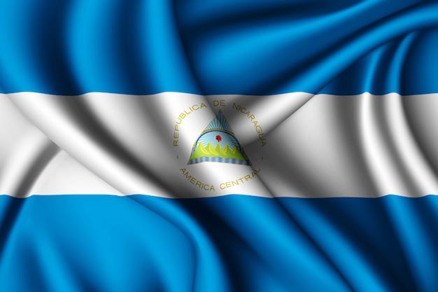 ニカラグアのシルク旗を振る Premium写真