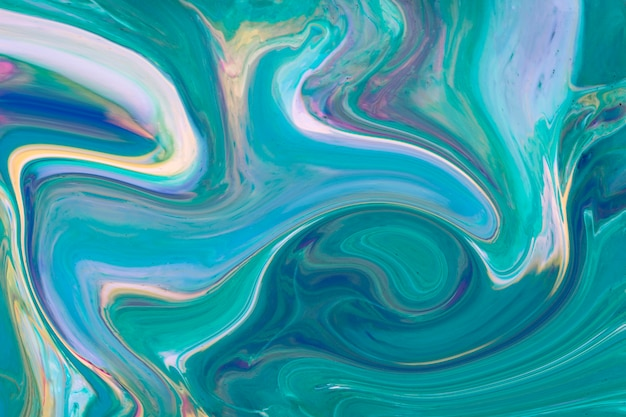 Wavy gradient blue and green acrylic contemporary art Free Photo