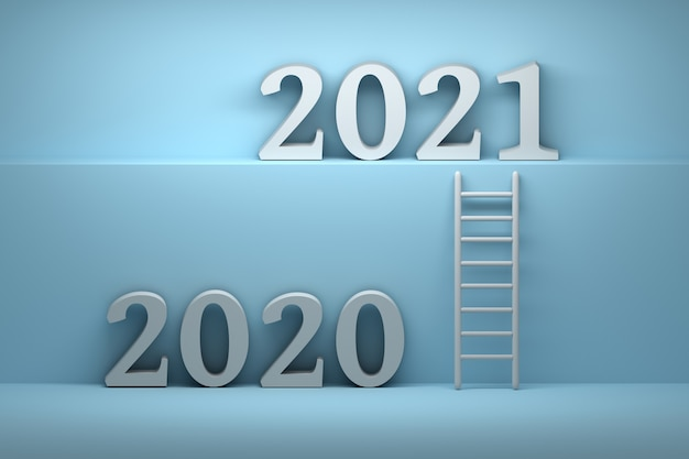 Way from 2020 year to 2021 year Premium Photo
