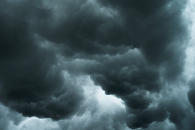 Weather in summer with black cloud and storm Premium Photo