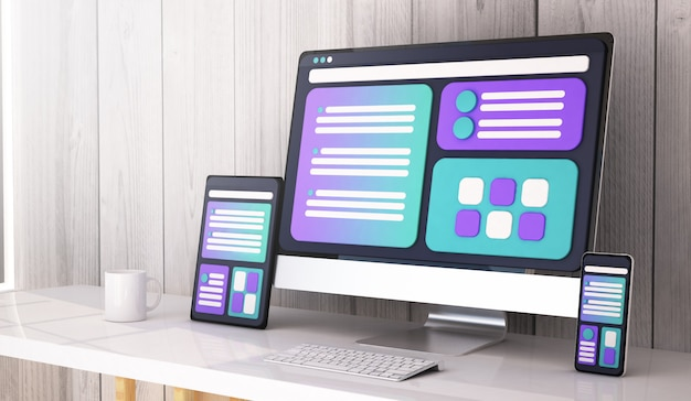 Web design concept on desktop 3d rendering Premium Photo