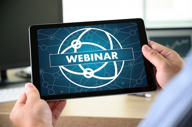 Webinar man hand on table business Premium Photo