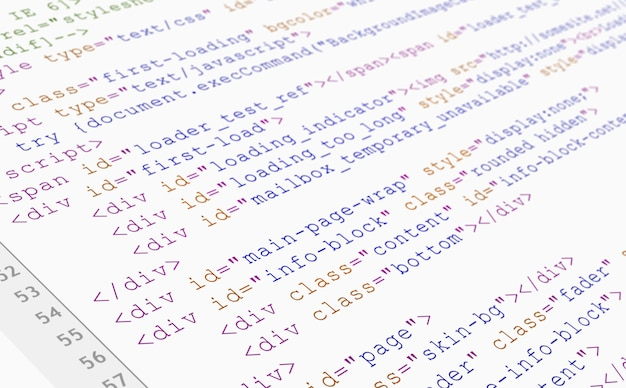 Website html code browser view printed on white paper, closeup view. Free Photo